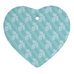 Christmas Day Ribbon Blue Heart Ornament (two Sides)