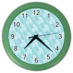 Christmas Day Ribbon Blue Color Wall Clocks by Mariart