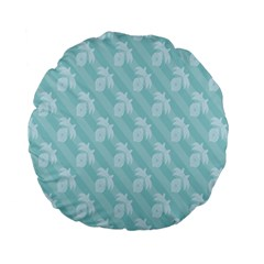 Christmas Day Ribbon Blue Standard 15  Premium Flano Round Cushions by Mariart