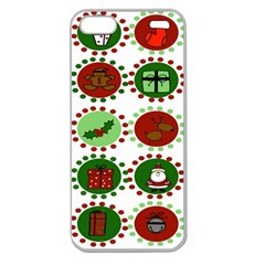 Christmas Apple Seamless Iphone 5 Case (clear) by Mariart