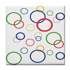 Circle Round Green Blue Red Pink Yellow Tile Coasters by Mariart