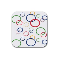 Circle Round Green Blue Red Pink Yellow Rubber Square Coaster (4 Pack)  by Mariart