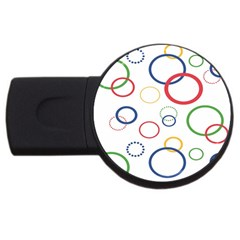 Circle Round Green Blue Red Pink Yellow Usb Flash Drive Round (2 Gb) by Mariart