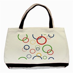 Circle Round Green Blue Red Pink Yellow Basic Tote Bag (two Sides) by Mariart