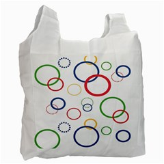 Circle Round Green Blue Red Pink Yellow Recycle Bag (one Side)