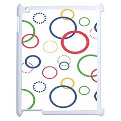 Circle Round Green Blue Red Pink Yellow Apple Ipad 2 Case (white) by Mariart