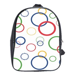Circle Round Green Blue Red Pink Yellow School Bags (xl)  by Mariart