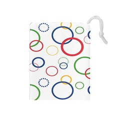 Circle Round Green Blue Red Pink Yellow Drawstring Pouches (medium)