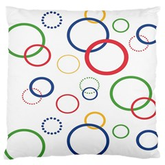 Circle Round Green Blue Red Pink Yellow Large Flano Cushion Case (one Side) by Mariart