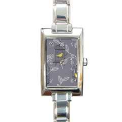 Cagr Bird Leaf Grey Yellow Rectangle Italian Charm Watch