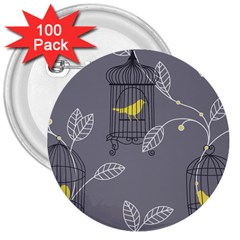 Cagr Bird Leaf Grey Yellow 3  Buttons (100 Pack)  by Mariart
