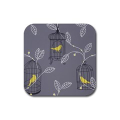 Cagr Bird Leaf Grey Yellow Rubber Coaster (square)  by Mariart