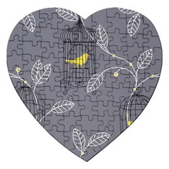 Cagr Bird Leaf Grey Yellow Jigsaw Puzzle (heart) by Mariart