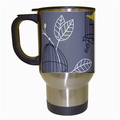 Cagr Bird Leaf Grey Yellow Travel Mugs (white) by Mariart