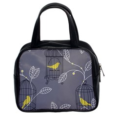 Cagr Bird Leaf Grey Yellow Classic Handbags (2 Sides) by Mariart