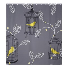 Cagr Bird Leaf Grey Yellow Shower Curtain 66  X 72  (large)  by Mariart