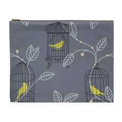 Cagr Bird Leaf Grey Yellow Cosmetic Bag (xl) by Mariart