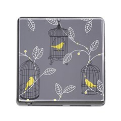 Cagr Bird Leaf Grey Yellow Memory Card Reader (square) by Mariart