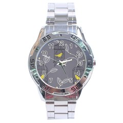 Cagr Bird Leaf Grey Yellow Stainless Steel Analogue Watch by Mariart