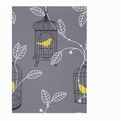 Cagr Bird Leaf Grey Yellow Large Garden Flag (two Sides) by Mariart
