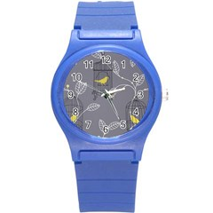 Cagr Bird Leaf Grey Yellow Round Plastic Sport Watch (s) by Mariart