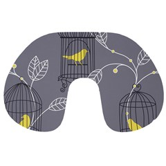 Cagr Bird Leaf Grey Yellow Travel Neck Pillows by Mariart