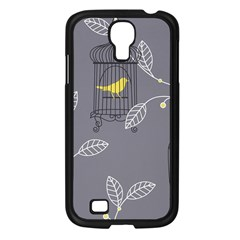 Cagr Bird Leaf Grey Yellow Samsung Galaxy S4 I9500/ I9505 Case (black) by Mariart