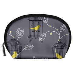 Cagr Bird Leaf Grey Yellow Accessory Pouches (large)  by Mariart