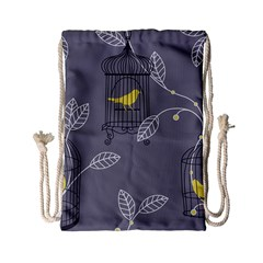Cagr Bird Leaf Grey Yellow Drawstring Bag (small)