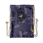 Cagr Bird Leaf Grey Yellow Drawstring Bag (Small) Back