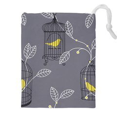 Cagr Bird Leaf Grey Yellow Drawstring Pouches (xxl) by Mariart