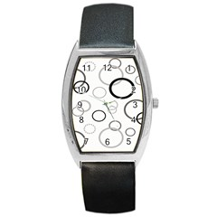 Circle Round Black Grey Barrel Style Metal Watch by Mariart