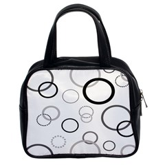 Circle Round Black Grey Classic Handbags (2 Sides) by Mariart