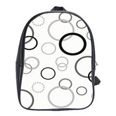 Circle Round Black Grey School Bags(large)  by Mariart