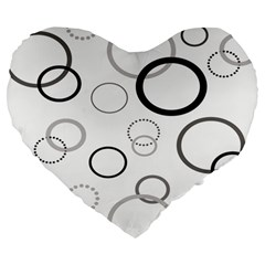 Circle Round Black Grey Large 19  Premium Heart Shape Cushions by Mariart