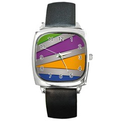 Colorful Geometry Shapes Line Green Grey Pirple Yellow Blue Square Metal Watch by Mariart