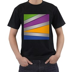 Colorful Geometry Shapes Line Green Grey Pirple Yellow Blue Men s T Shirt (black) (two Sided)