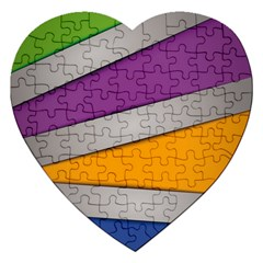 Colorful Geometry Shapes Line Green Grey Pirple Yellow Blue Jigsaw Puzzle (heart) by Mariart