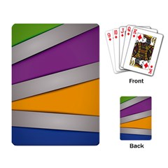 Colorful Geometry Shapes Line Green Grey Pirple Yellow Blue Playing Card