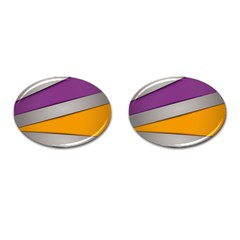 Colorful Geometry Shapes Line Green Grey Pirple Yellow Blue Cufflinks (oval) by Mariart