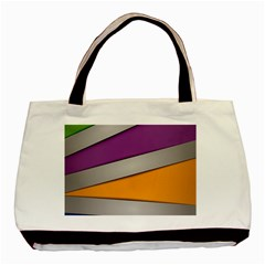 Colorful Geometry Shapes Line Green Grey Pirple Yellow Blue Basic Tote Bag (two Sides) by Mariart