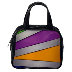 Colorful Geometry Shapes Line Green Grey Pirple Yellow Blue Classic Handbags (one Side) by Mariart