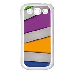 Colorful Geometry Shapes Line Green Grey Pirple Yellow Blue Samsung Galaxy S3 Back Case (white) by Mariart