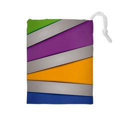 Colorful Geometry Shapes Line Green Grey Pirple Yellow Blue Drawstring Pouches (large)  by Mariart
