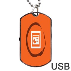 Circles Orange Dog Tag Usb Flash (two Sides)