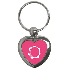 Circle White Pink Key Chains (heart)  by Mariart