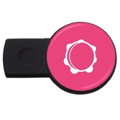Circle White Pink Usb Flash Drive Round (4 Gb) by Mariart