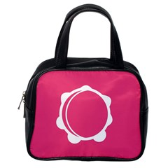 Circle White Pink Classic Handbags (one Side) by Mariart