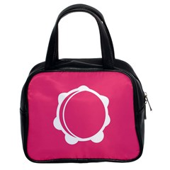 Circle White Pink Classic Handbags (2 Sides) by Mariart