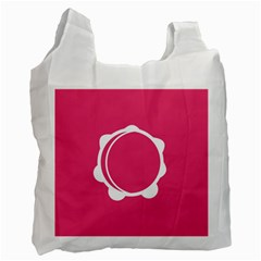 Circle White Pink Recycle Bag (two Side)  by Mariart